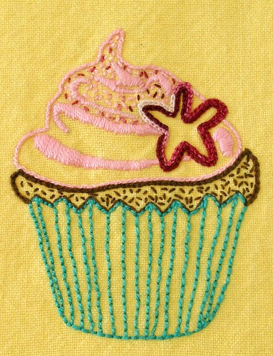 Beetastic Cupcake embroidery