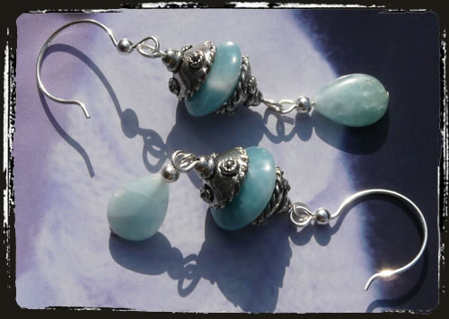 Orecchini celeste amazonite - Amazonite earrings AMHIPAM