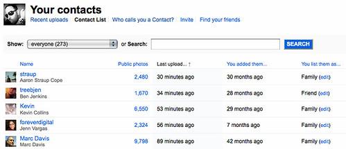 New contact list management