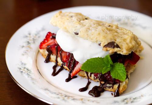 Chocolate Chip Strawberry Shortcake with Bourbon Chocolate Sauce