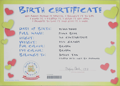 "Fiona bear's ""birth cert"""