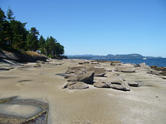 Beachcombing and sandstone formations