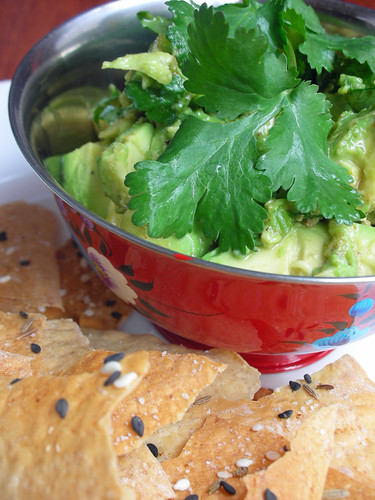 seedy lavash with chunky avocado spread