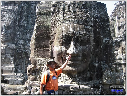 Faces of Bayon with shrapnel