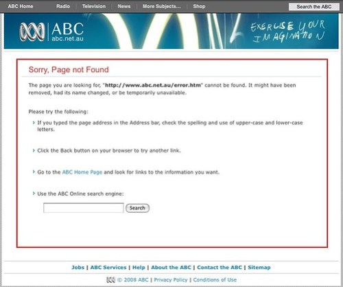 Australian Broadcasting Corporation: Page Not Found