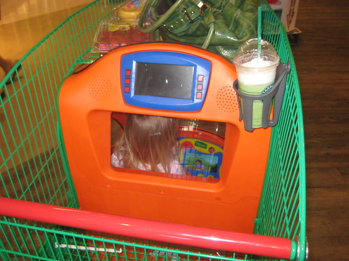 New shopping cart with tv for kids at Safeway by you.