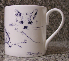 Pussy cat on my new Tracey Emin mug I bought at the Royal Academy