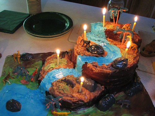 Jungle cake with candles