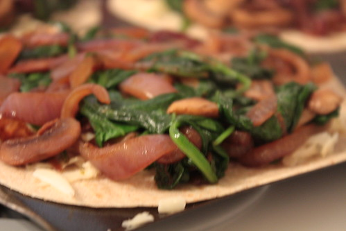 Spinach, Mushroom Quesadilla