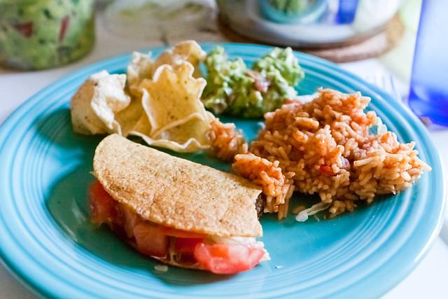 tacos, rice, guacamole