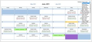 Employees can view each others schedules