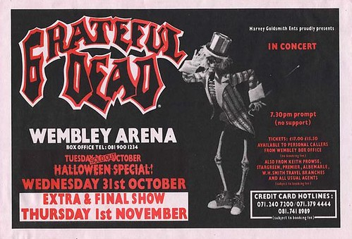 Grateful Dead Wembley Arena handbill 10/30, 10/31, and 11/1/90, London, England