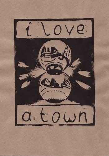 I love A-Town. Linocut print by Pippa Buchanan