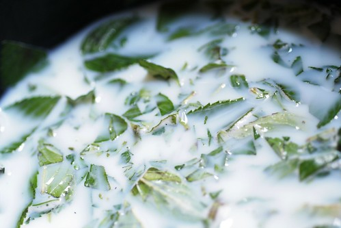 Steeping mint in cream