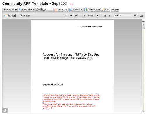 Looking for An Example Community RFP? | Tom Humbarger's Social Media