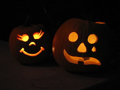 Dolly and Drama Mask Pumpkins