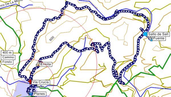 Mapa de la ruta por el barranco de La encantada desde Planes