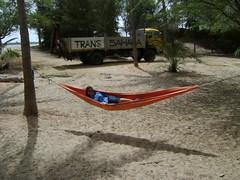Lounging in hammock at Zebrabar