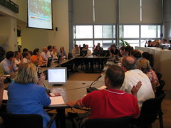Gail McGovern leading the daily Disaster Operation Center meeting 9.9.08