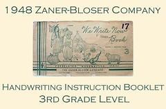 Vintage ZANER-BLOSER 1948 3rd Grade Handwritin...