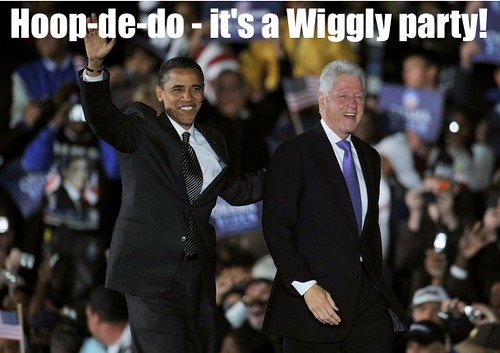 Hoop-de-doo, it's a Wiggly party Barack Obama and Bill Clinton