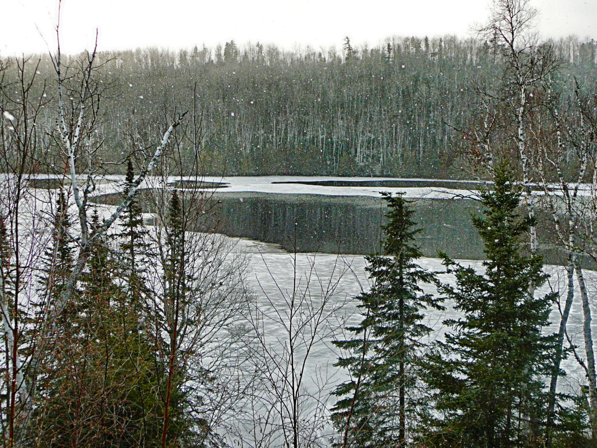 Ice forming on East Bearskin Lake on Monday morning. Hard to believe that Quinn & Bob were canoeing on the lake just the day before.