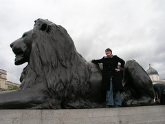 How do I climb on this thing? Lion at Nelson's Column, Trafalgar Square