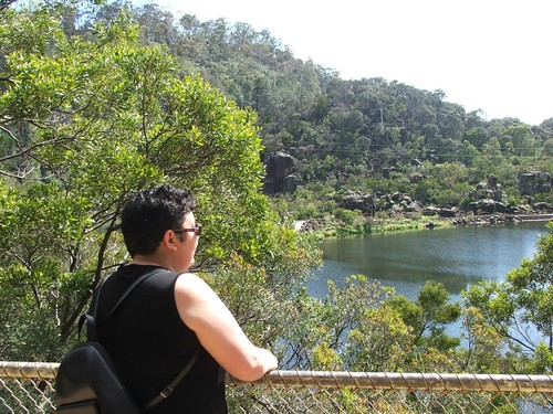 Cathy checking out the view