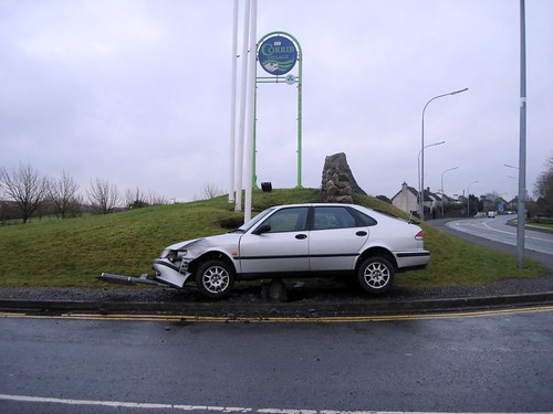 Car crashed into a traffic sign