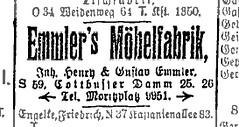 Anzeige Emmler's Möbelfabrik, 1916