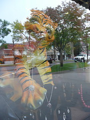 Shop window tiger with jewelry