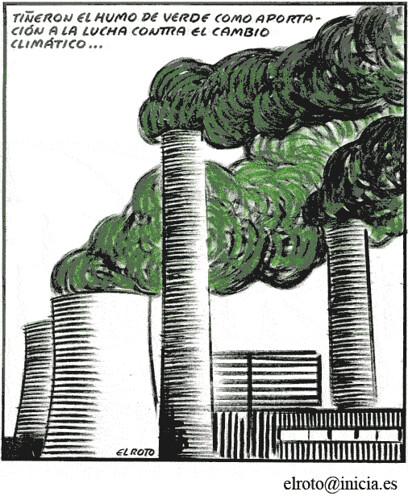 Chiste de El Roto sobre el Discurso Retorico sobre el Cambio Climático.