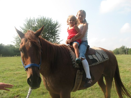 day on the farm...e and n on horse by you.