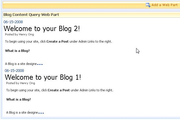 How to customize the Content Query Web Part XSL to aggregate blog
