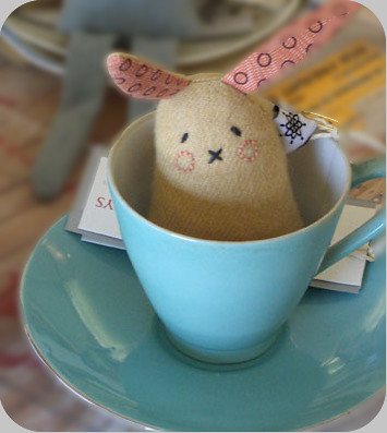 Gingerbread Biscuit Bunny in blue tea cup