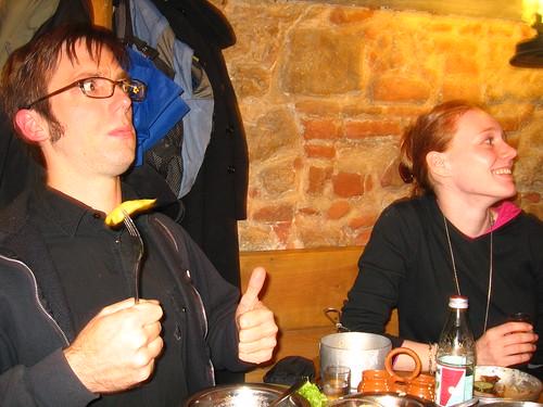 Adam enjoying the Ukrainian food.