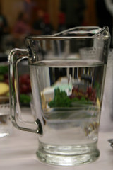 Grapes through a water pitcher