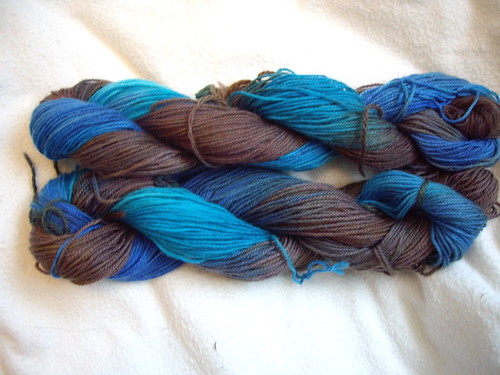 My Sock Yarn in Blues and Brown