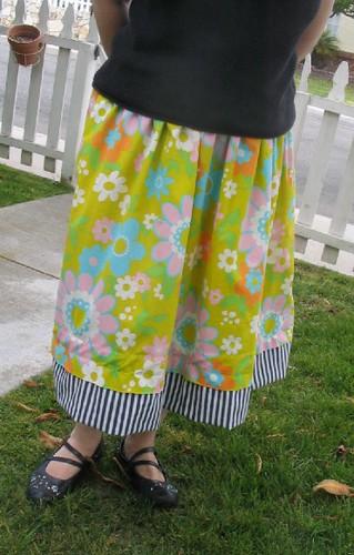 Floral bedsheet skirt