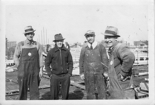 Dad 2nd left and Pals building AC Electric Co.jpg