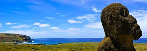 Der einzige Moai mit rundem Kopf