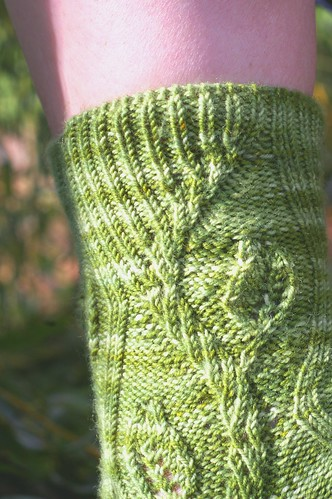 green forked sock ribbing