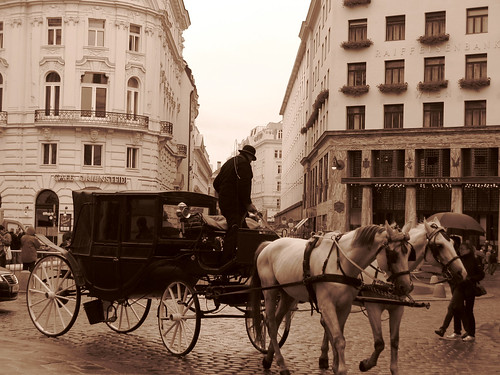 Vin de siclele Vienna. Turn of the century Vienna is the citys legendary time period where the worlds greatest thinkers and musicians were calling the capitol of the Hapsburg Empire home. The sky was so grey that day I decided to shoot in sepia and happend upon this amazing capture of what the city looked like many years ago.
