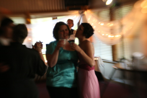 Liz and me dancing with our drinks