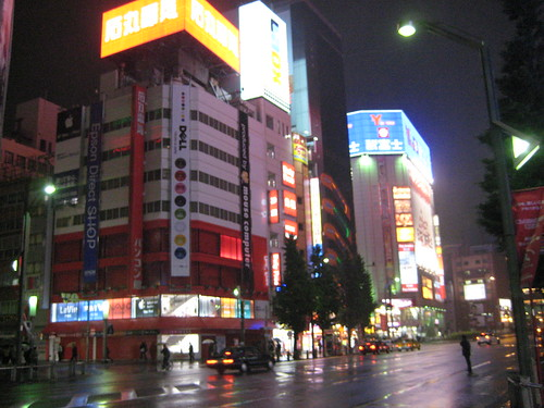 Middle of Akihabara on a Wet Night