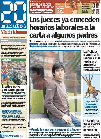 Jose, en la portada de 20 Minutos