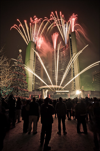Fireworks over Toronto's Civic Buildings