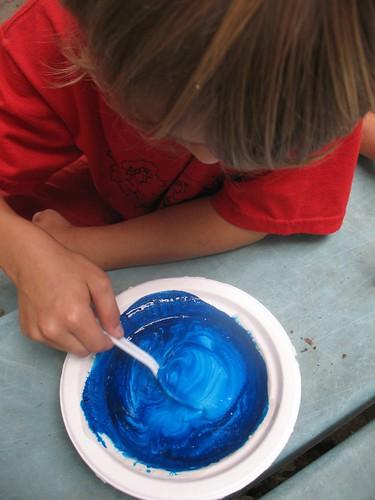 homemade chalk...micah mixes blue
