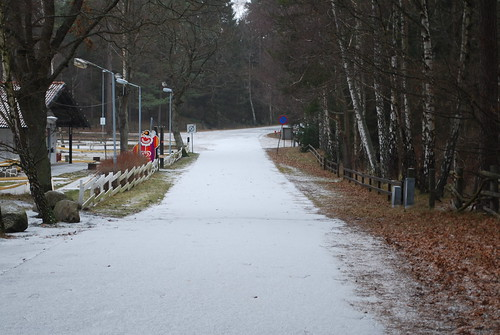 Snowy road past the camping