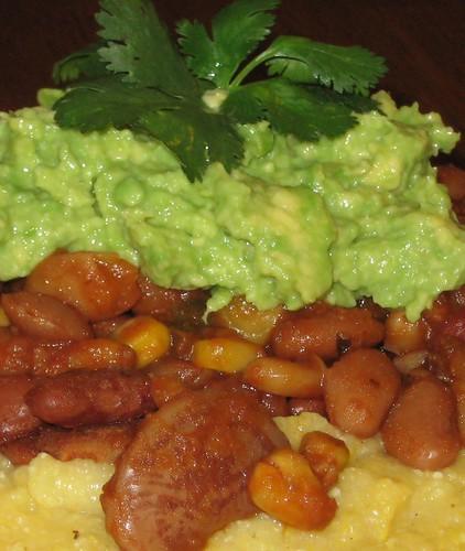 polenta, beans, guacamole